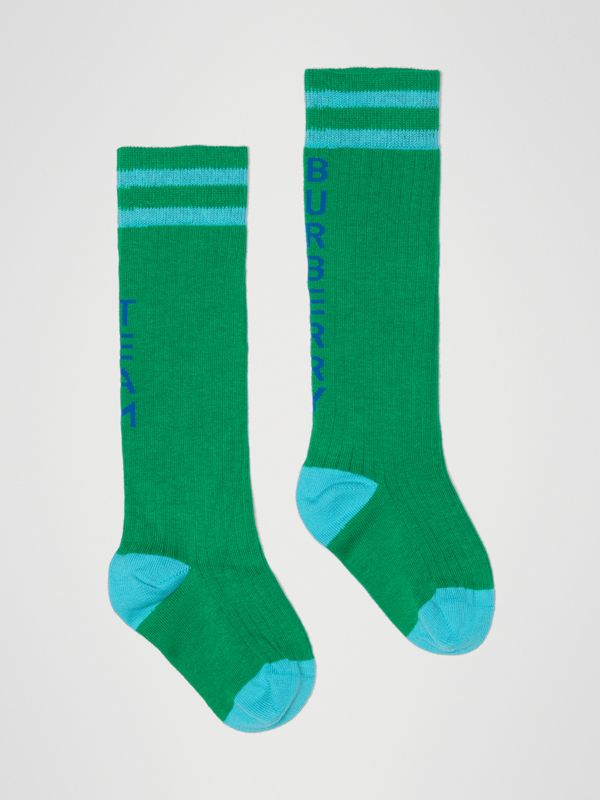 Logo Striped Cotton Blend Socks in Grass Green - Children | Burberry Singapore - cell image 3