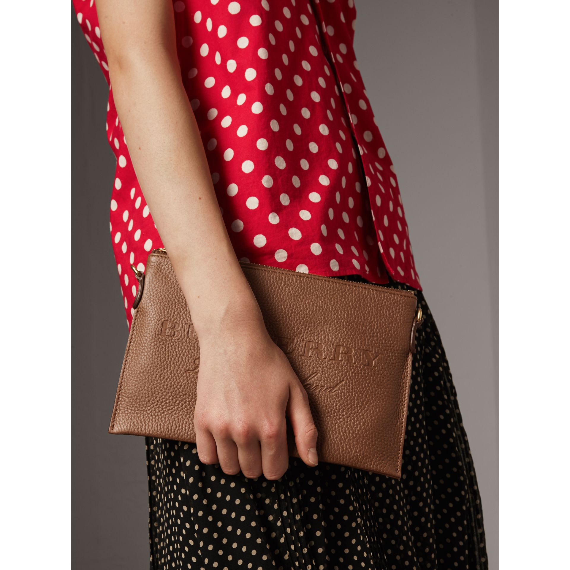 Embossed Leather Clutch Bag in Chestnut Brown - Women | Burberry - gallery image 4