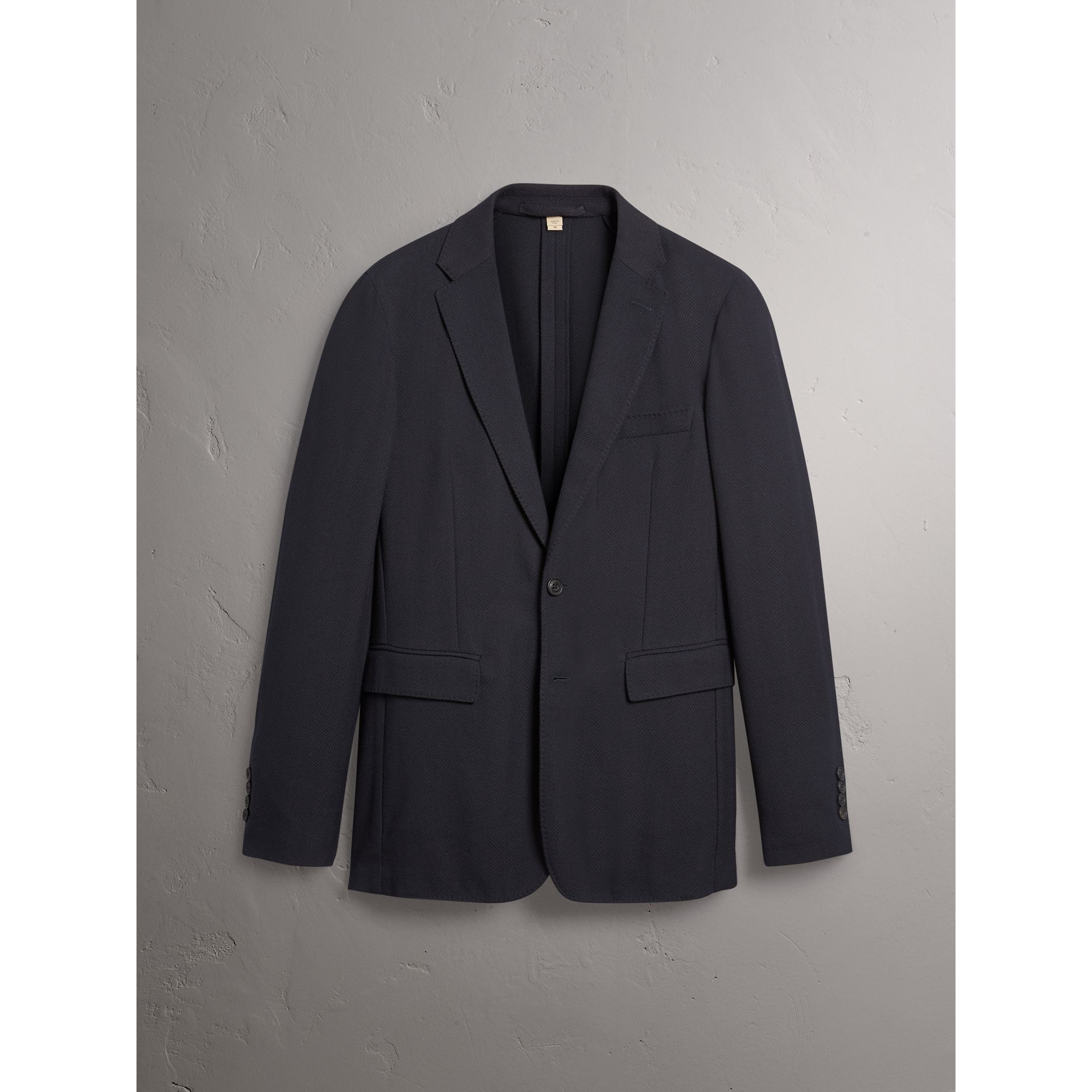 Soho Fit Herringbone Cotton Blend Jacket in Navy - Men | Burberry - gallery image 4