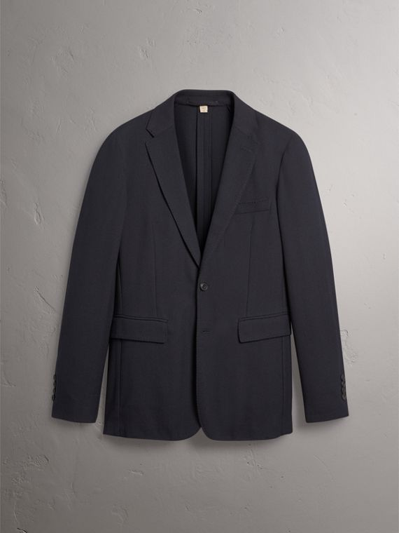 Soho Fit Herringbone Cotton Blend Jacket in Navy - Men | Burberry Singapore - cell image 3