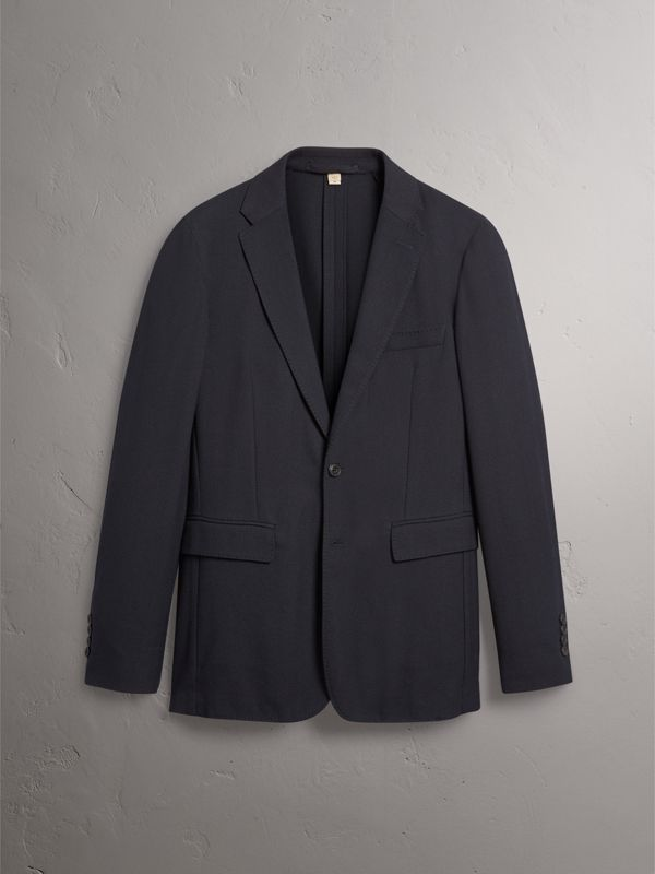Soho Fit Herringbone Cotton Blend Jacket in Navy - Men | Burberry United Kingdom - cell image 3