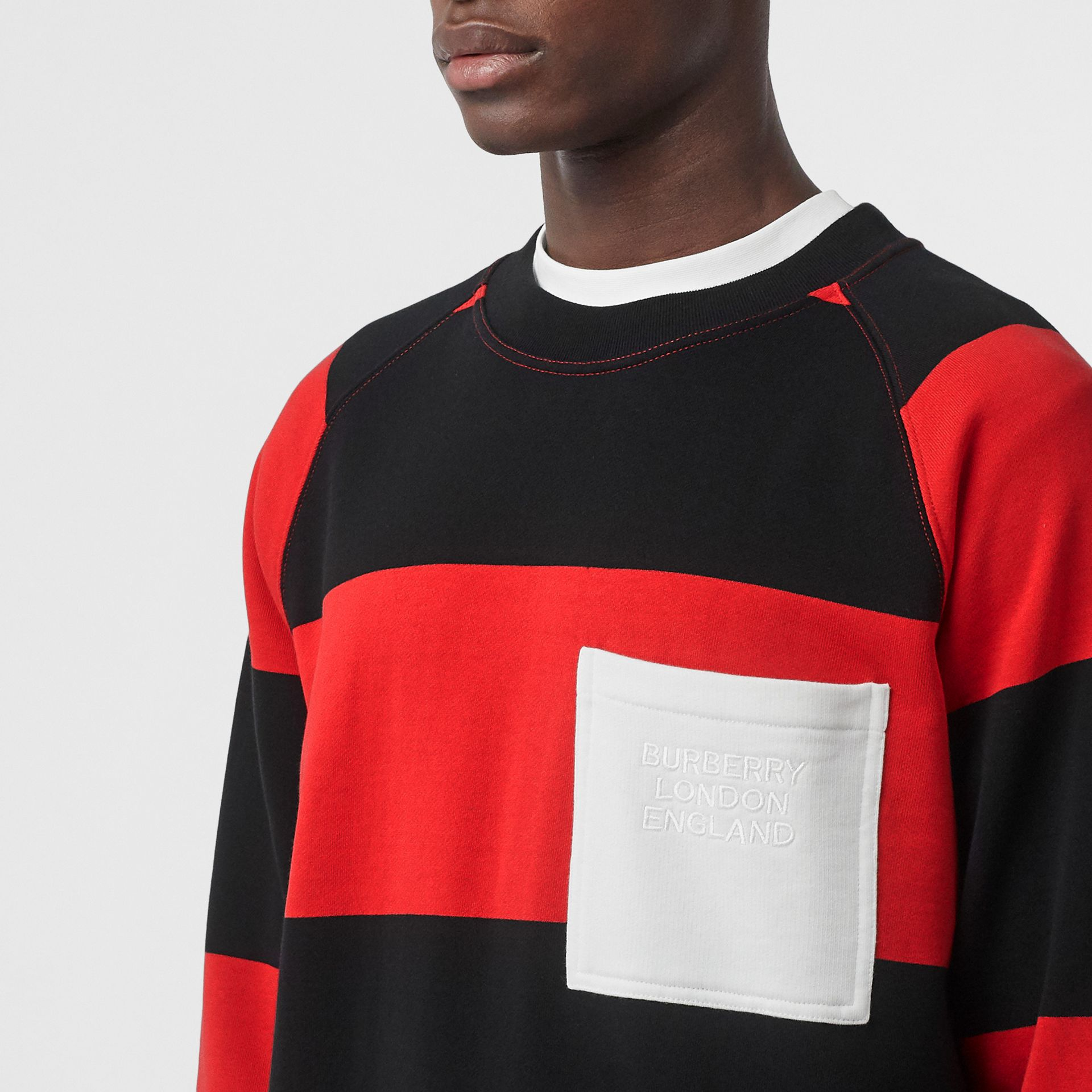 Rugby Stripe Cotton Sweatshirt in Bright Red - Men | Burberry - gallery image 1