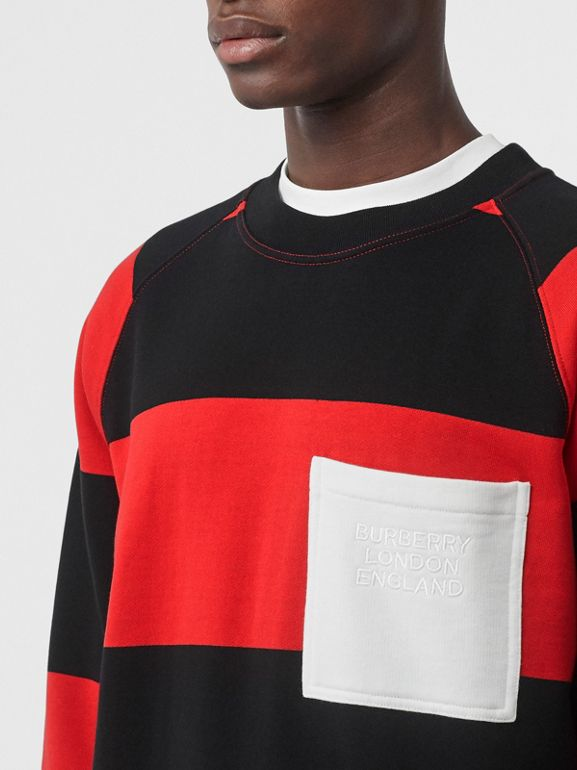Rugby Stripe Cotton Sweatshirt in Bright Red - Men | Burberry - cell image 1