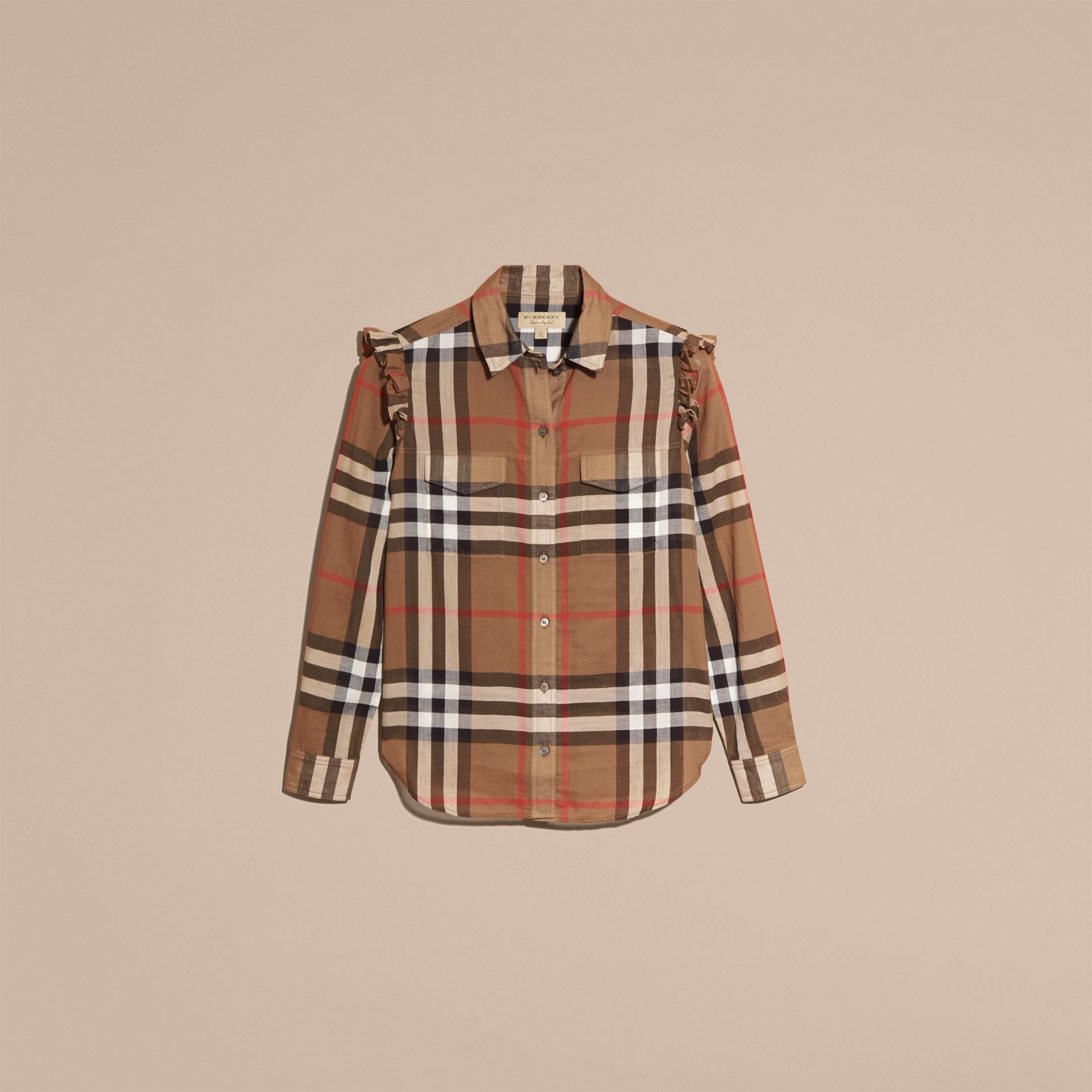 Frill Detail Check Cotton Shirt in Taupe Brown - Women | Burberry - gallery image 4