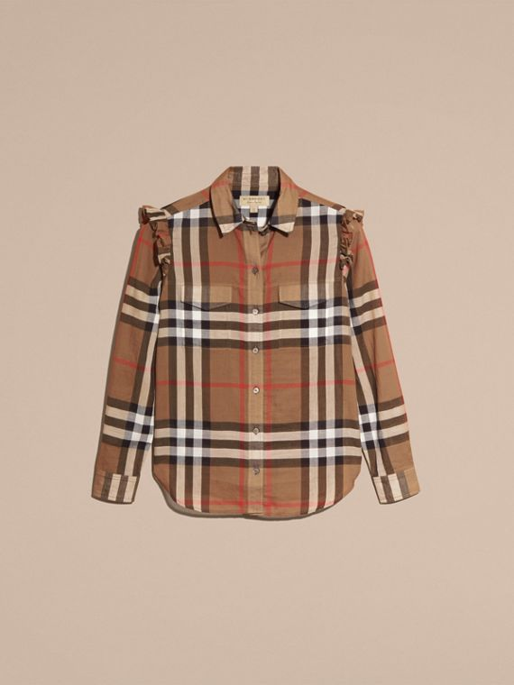 Frill Detail Check Cotton Shirt in Taupe Brown - Women | Burberry - cell image 3