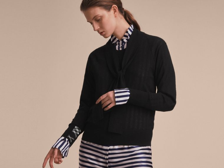 Neck Tie Cashmere Sweater in Black - Women | Burberry Hong Kong - cell image 4