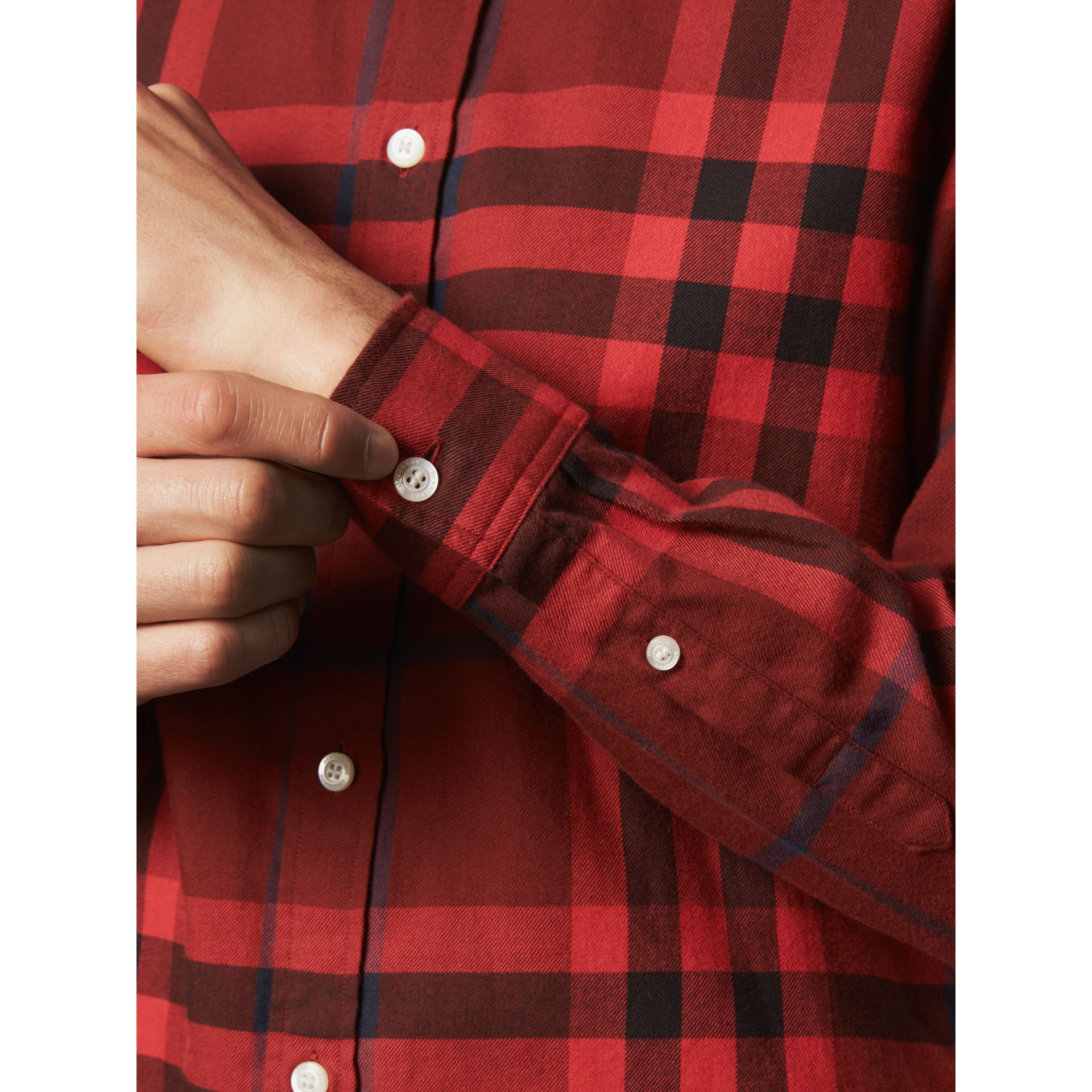 Check Cotton Flannel Shirt in Mahogany Red - Men | Burberry Canada - gallery image 2