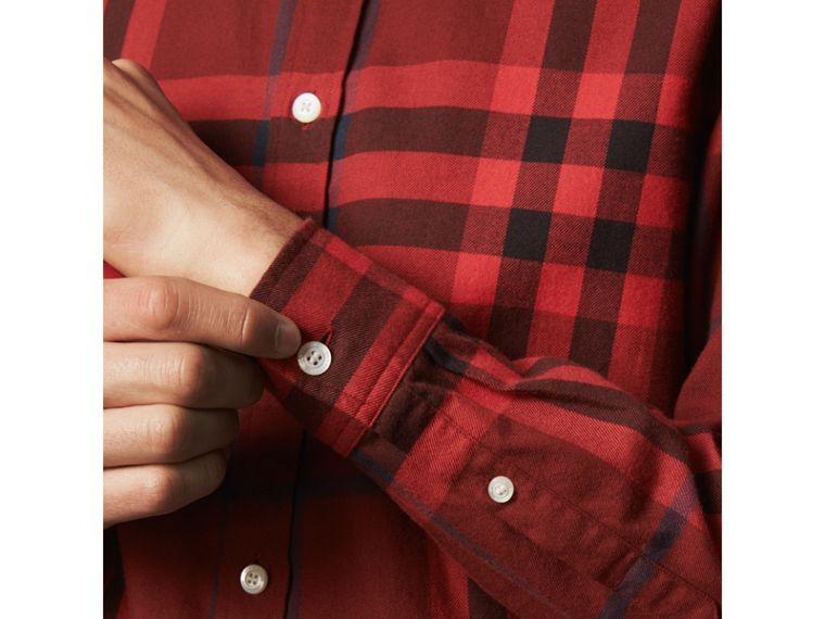 Check Cotton Flannel Shirt in Mahogany Red - Men | Burberry - cell image 1