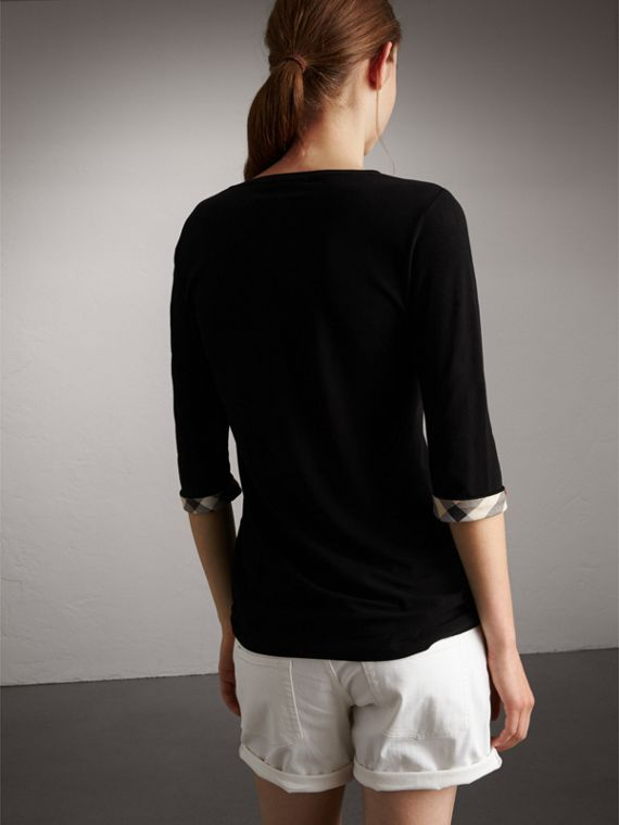 Check Cuff Stretch-Cotton Top in Black - Women | Burberry Hong Kong - cell image 2