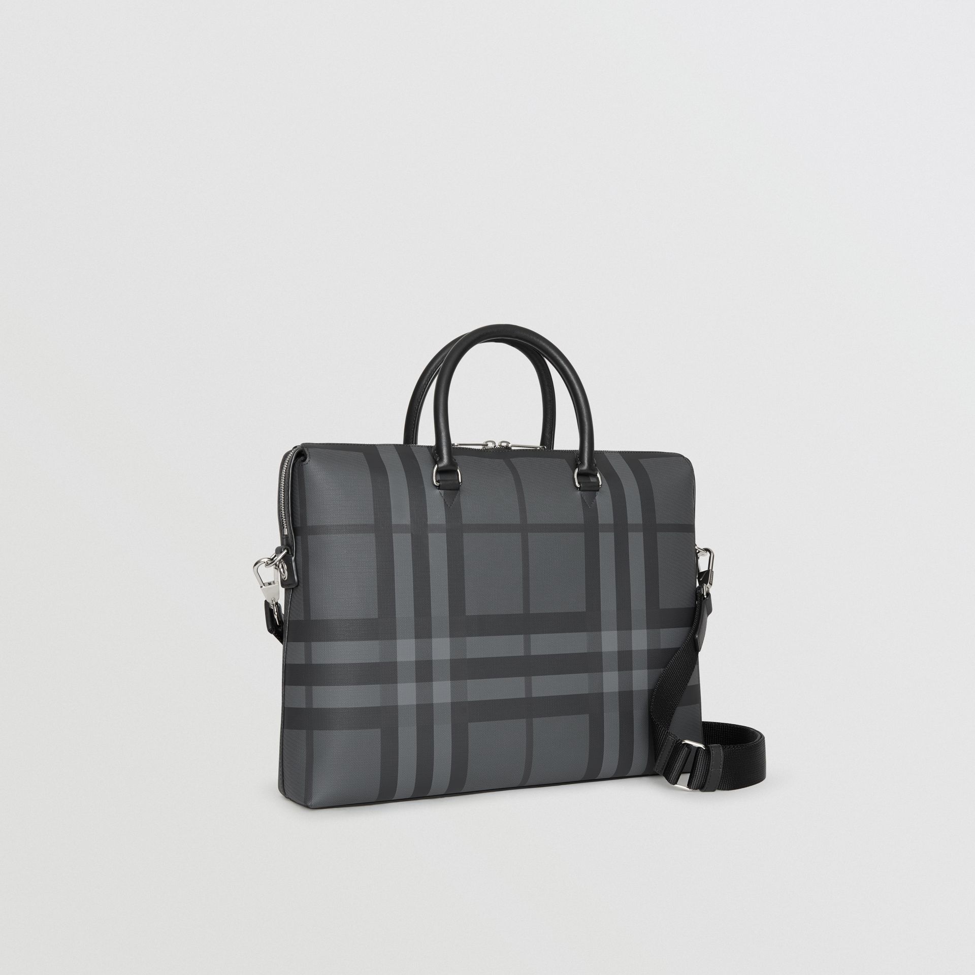 Large London Check Briefcase in Charcoal/black - Men | Burberry Australia - gallery image 6