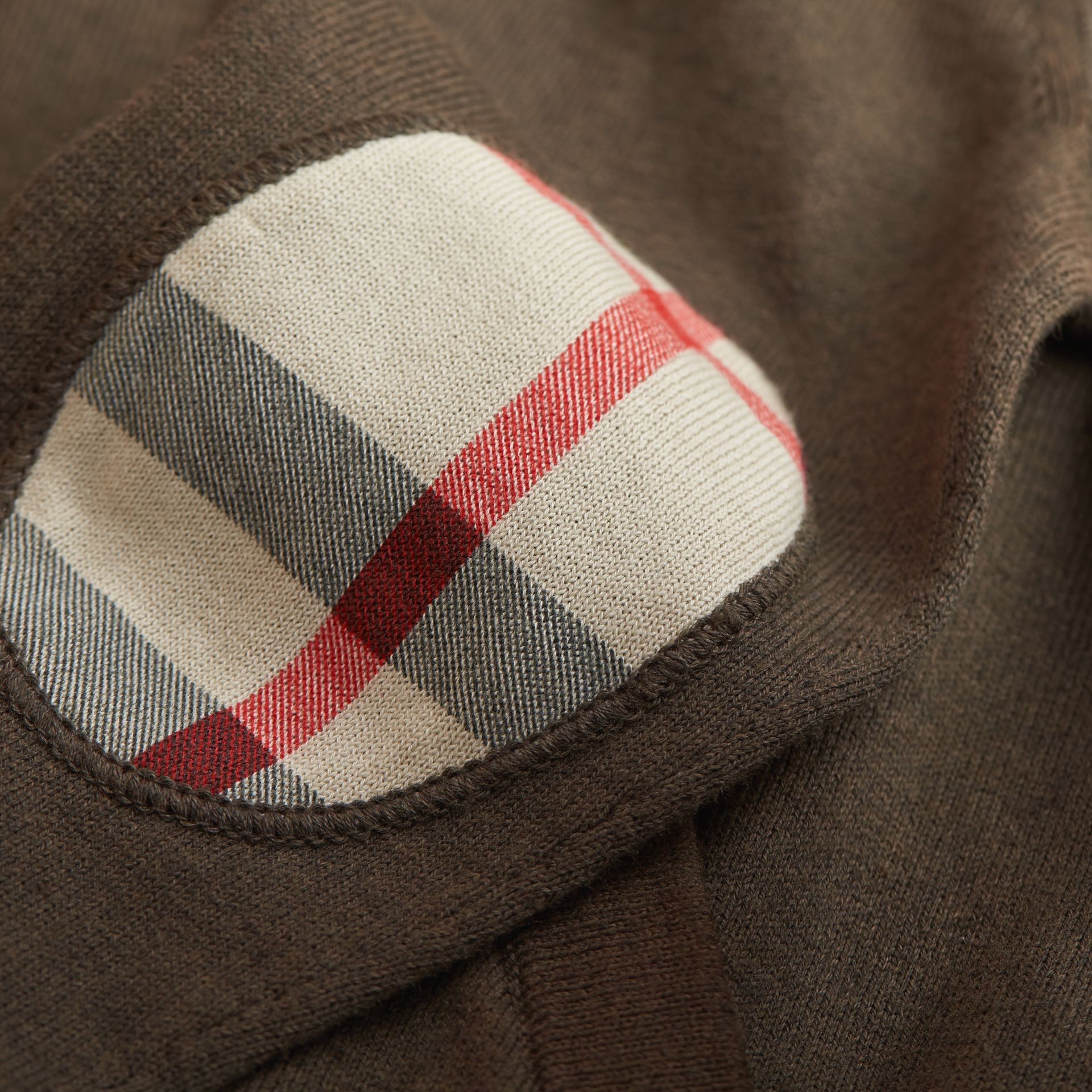 Check Detail Cotton Zip-front Cardigan in Olive Melange - Boy | Burberry - gallery image 1