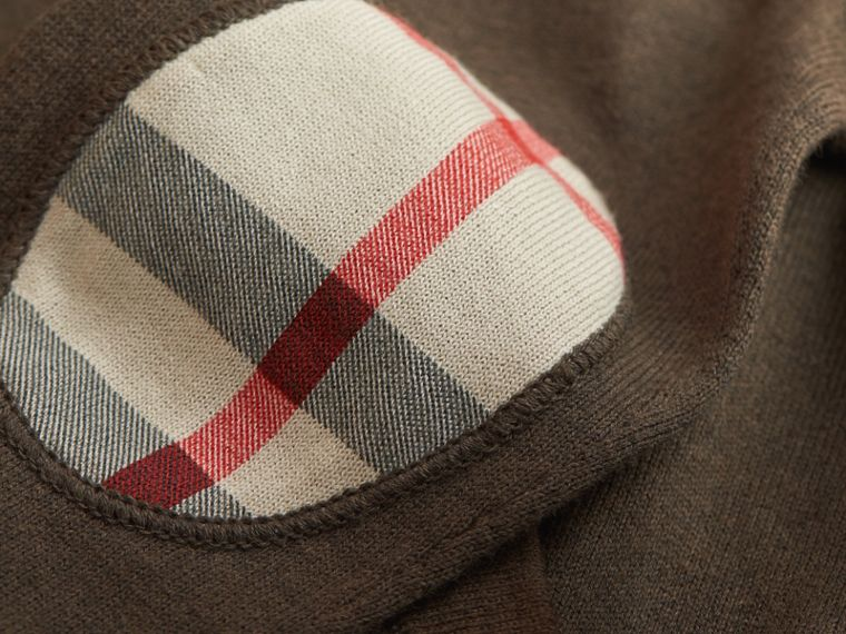 Check Detail Cotton Zip-front Cardigan in Olive Melange - Boy | Burberry Hong Kong - cell image 1