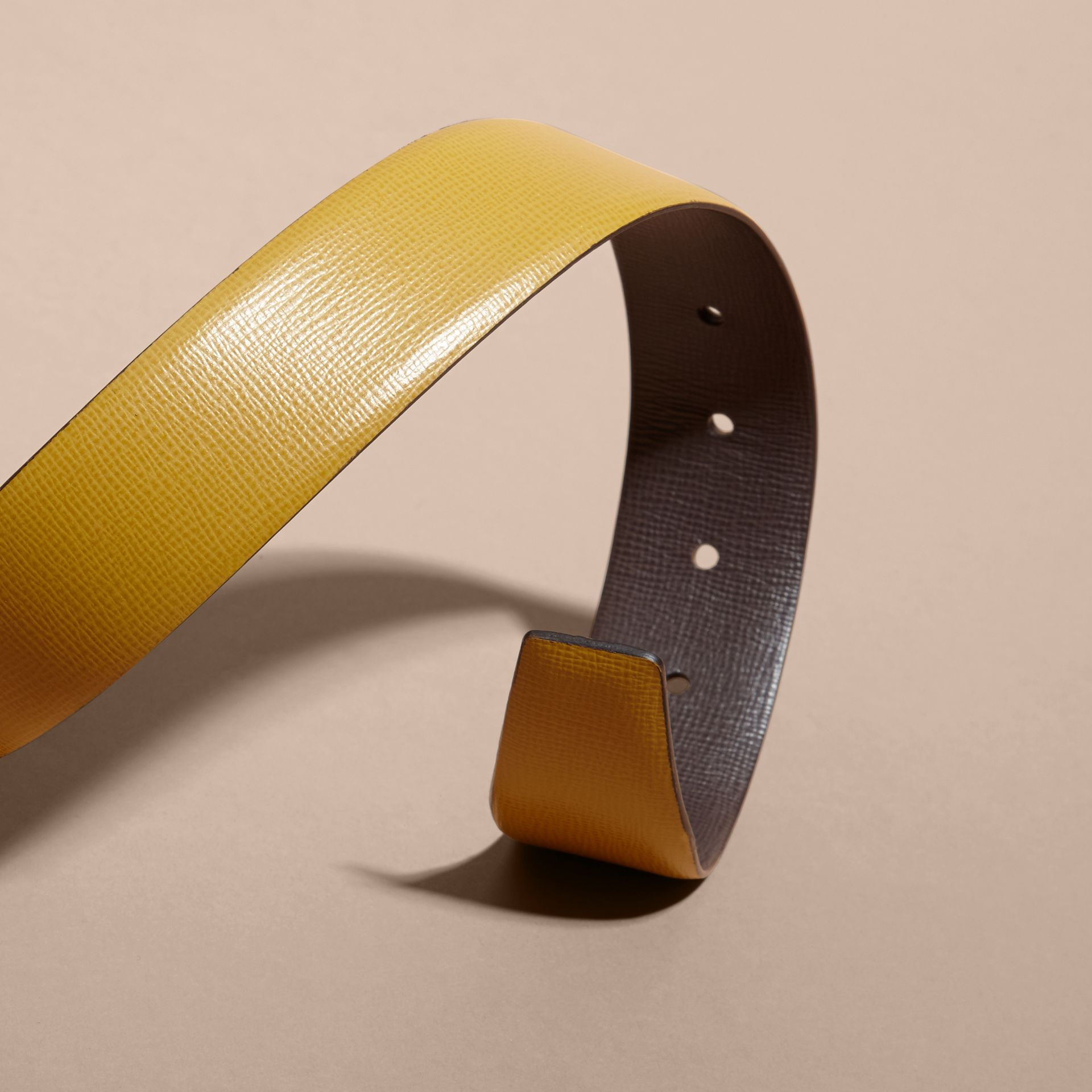 Reversible London Leather Belt Larch Yellow/bitter Chocolate - gallery image 3
