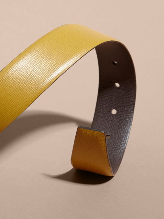 Reversible London Leather Belt Larch Yellow/bitter Chocolate - cell image 2