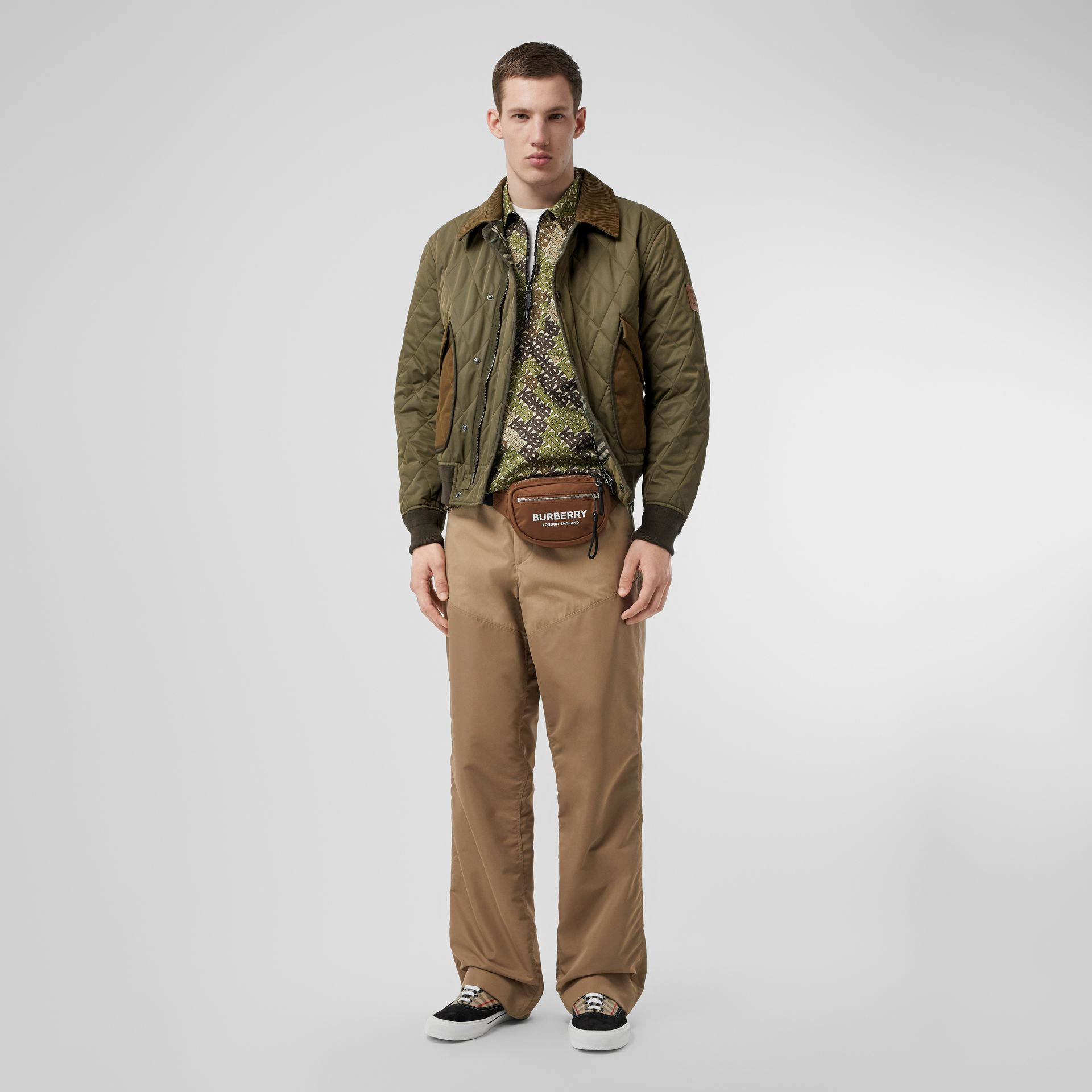 Diamond Quilted Thermoregulated Jacket in Dark Olive - Men | Burberry - gallery image 0