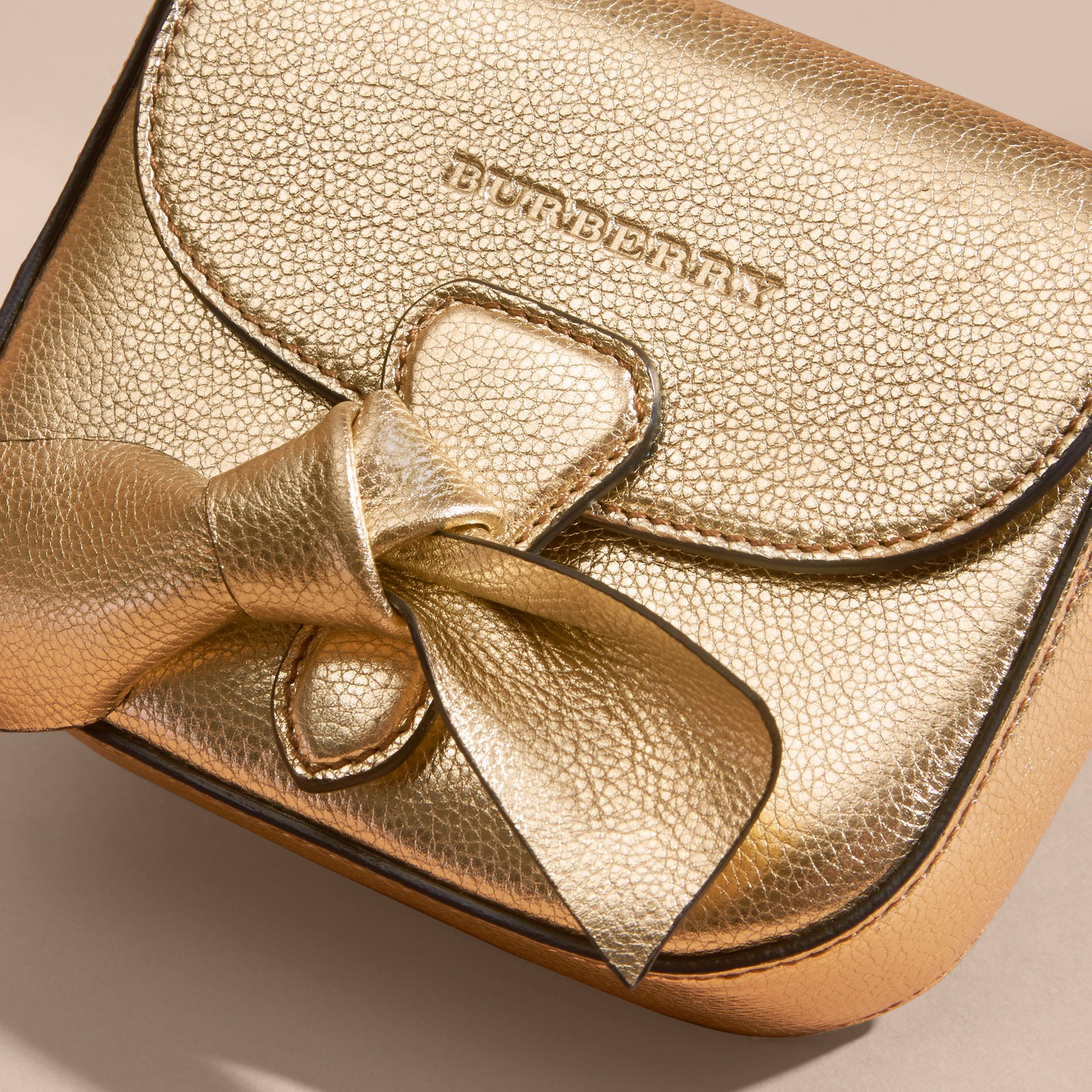 Gold Metallic Leather Crossbody Bag - gallery image 2