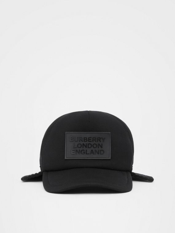Logo Appliqué Reconstructed Baseball Cap in Black