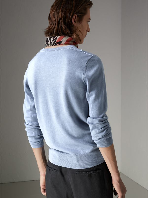Check Detail Merino Wool Sweater in Stone Blue - Men | Burberry - cell image 2