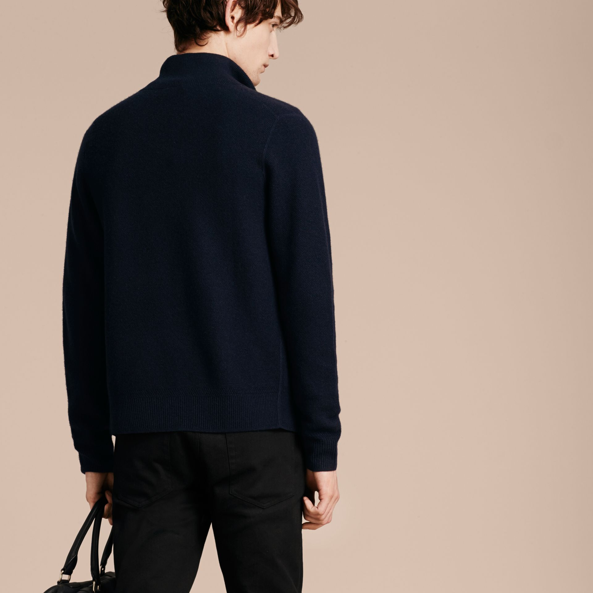 Zip Front Wool Cashmere Cardigan Navy - gallery image 3
