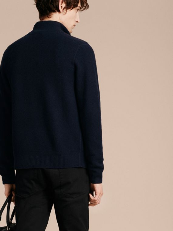 Zip Front Wool Cashmere Cardigan Navy - cell image 2