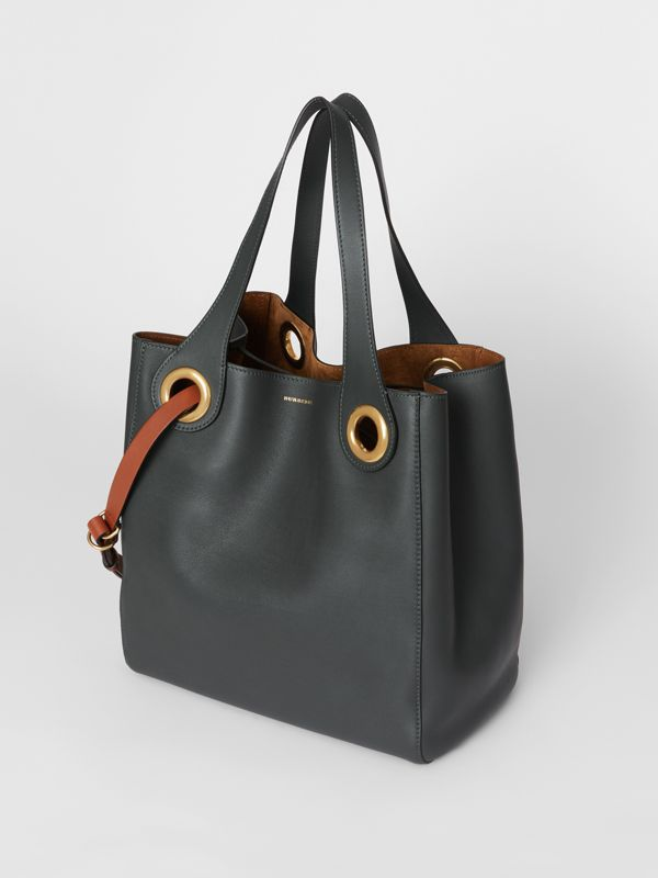 The Leather Grommet Detail Tote in Dark Emerald - Women | Burberry United States - cell image 2