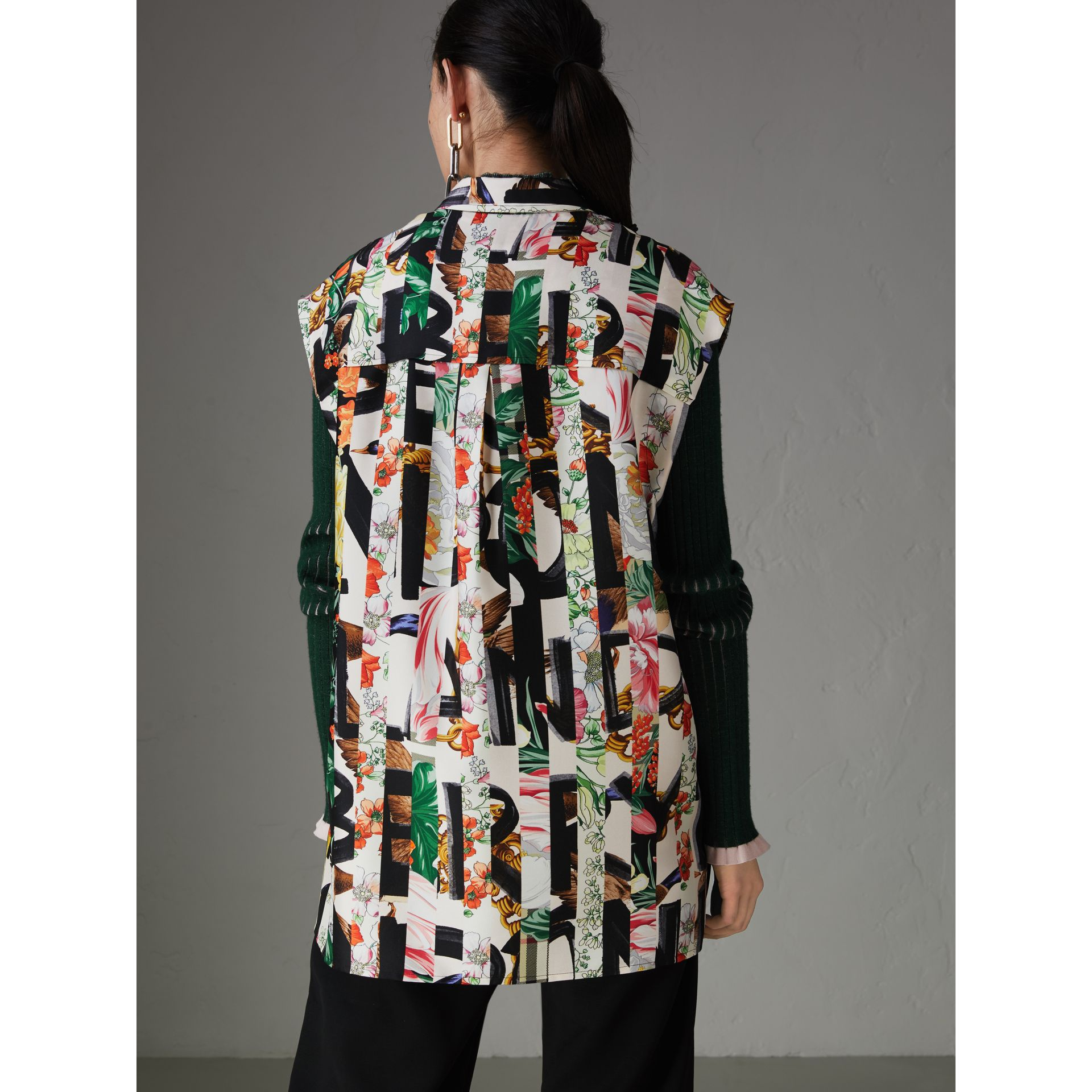 Archive Scarf Print Silk Sleeveless Shirt in Multicolour - Women | Burberry United Kingdom - gallery image 2