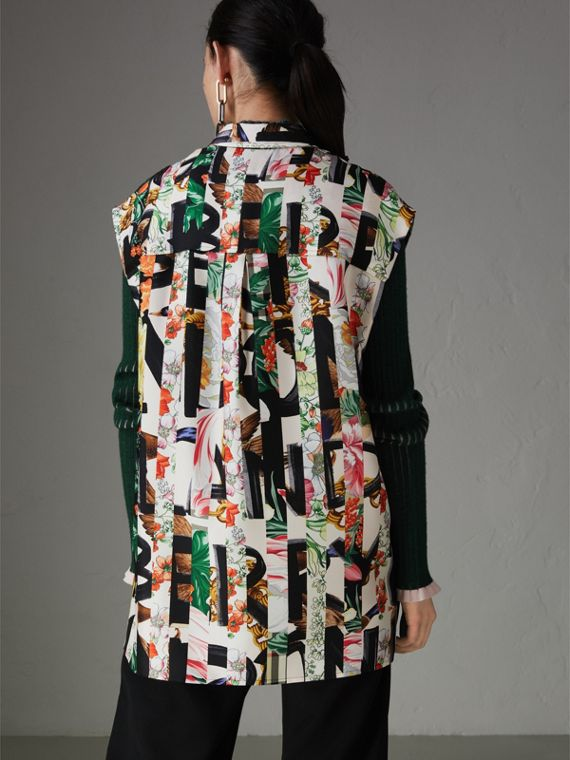 Archive Scarf Print Silk Sleeveless Shirt in Multicolour - Women | Burberry - cell image 2