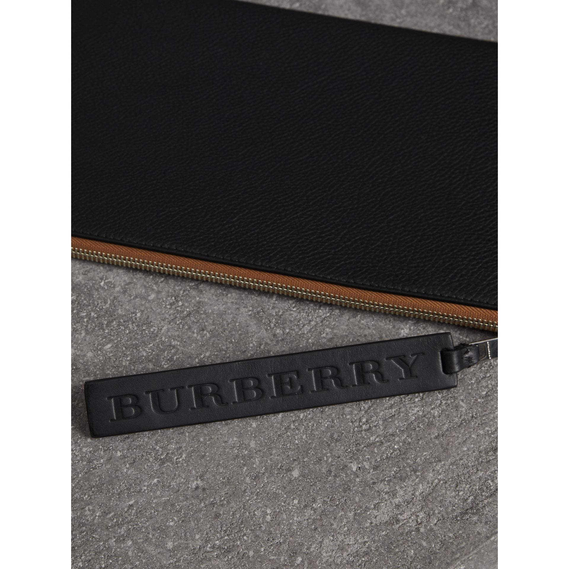 Grainy Leather Zip Pouch in Black | Burberry Australia - gallery image 1