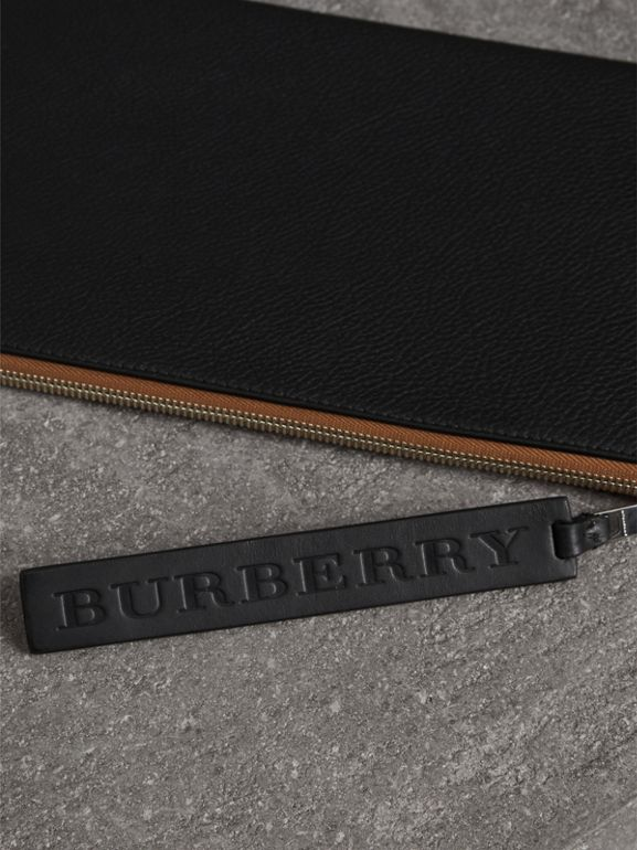 Grainy Leather Zip Pouch in Black | Burberry Australia - cell image 1