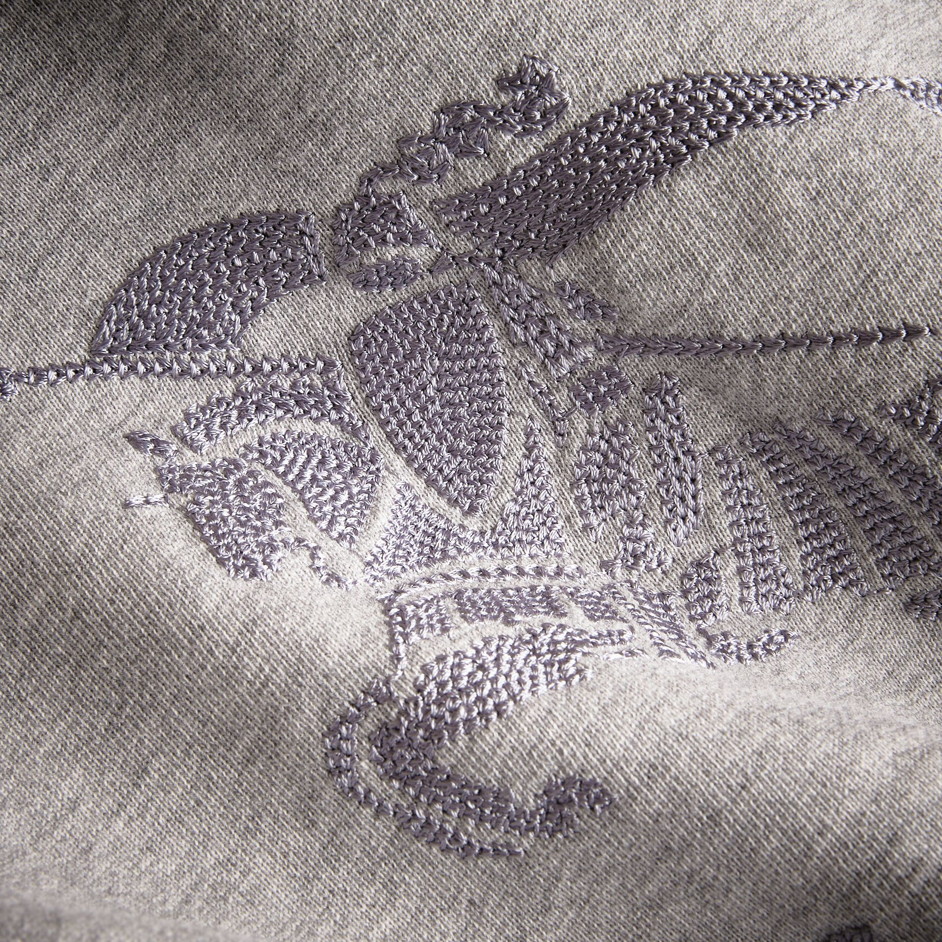 Embroidered Cotton Jersey Sweatshirt in Grey Melange - Boy | Burberry - gallery image 2