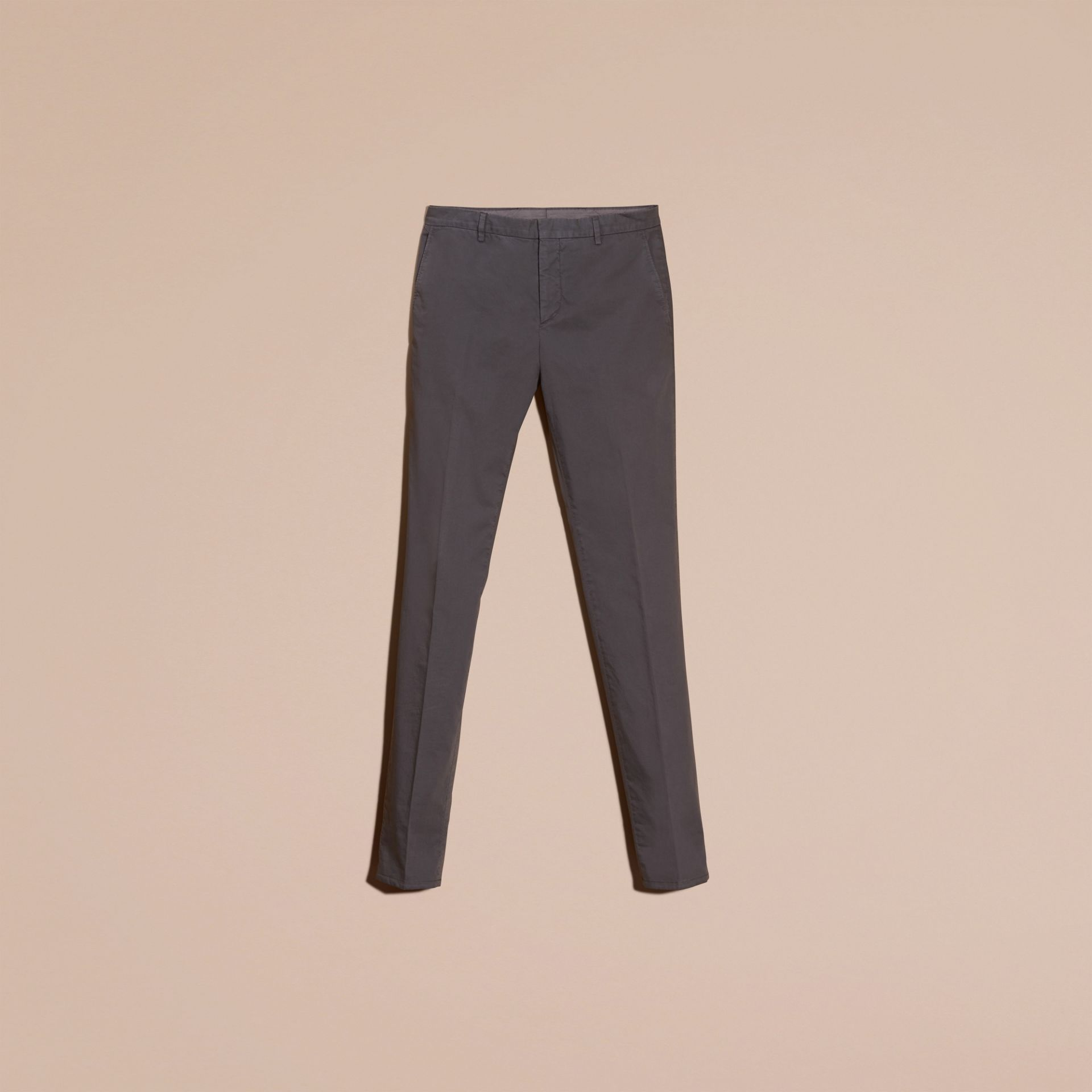 Mid grey Slim Fit Stretch Cotton Trousers Mid Grey - gallery image 4
