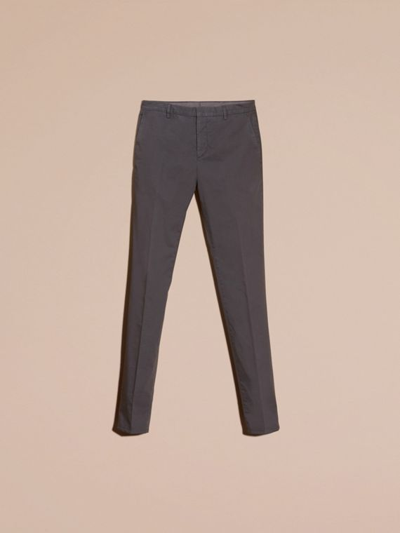 Mid grey Slim Fit Stretch Cotton Trousers Mid Grey - cell image 3