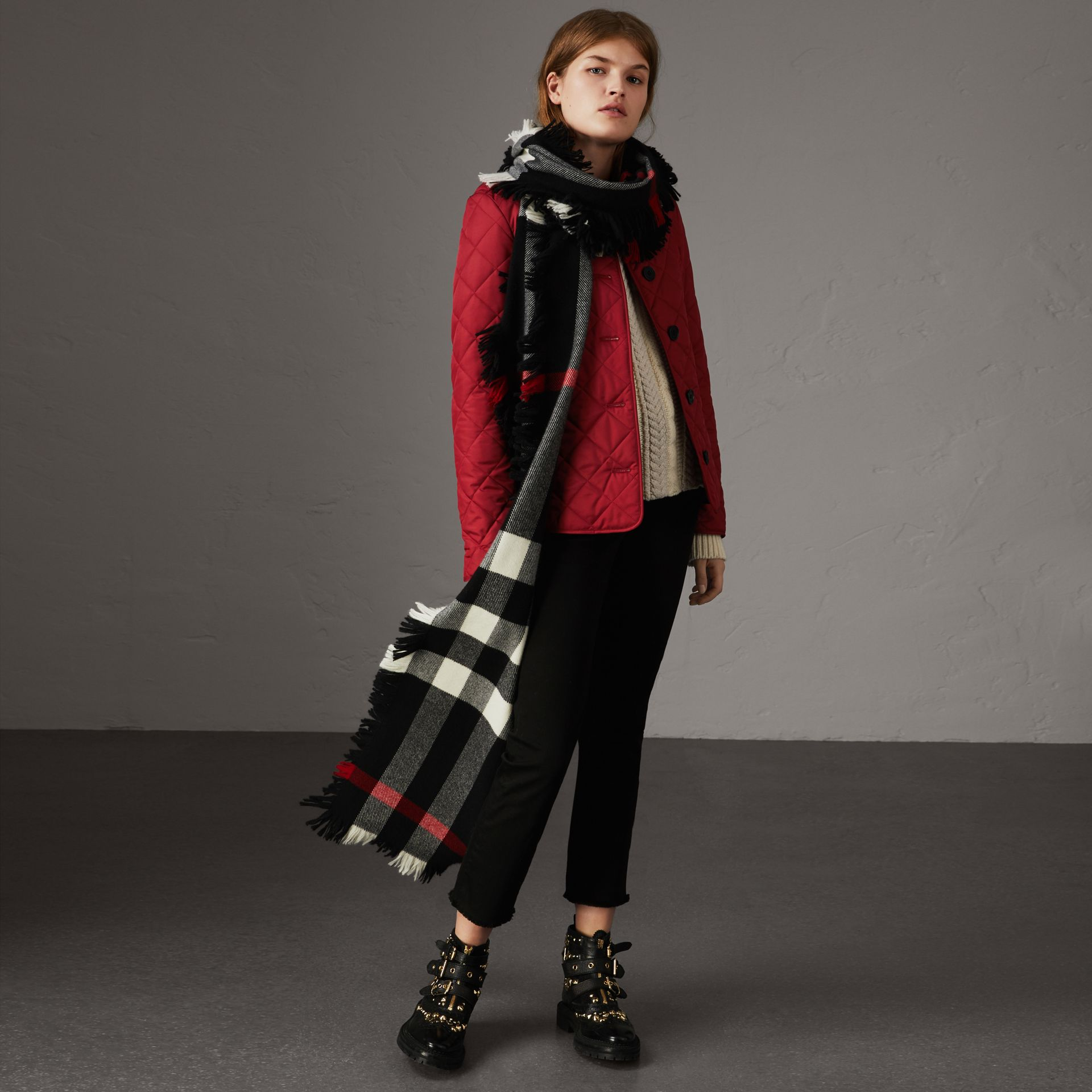 Diamond Quilted Jacket in Parade Red - Women | Burberry United States - gallery image 1