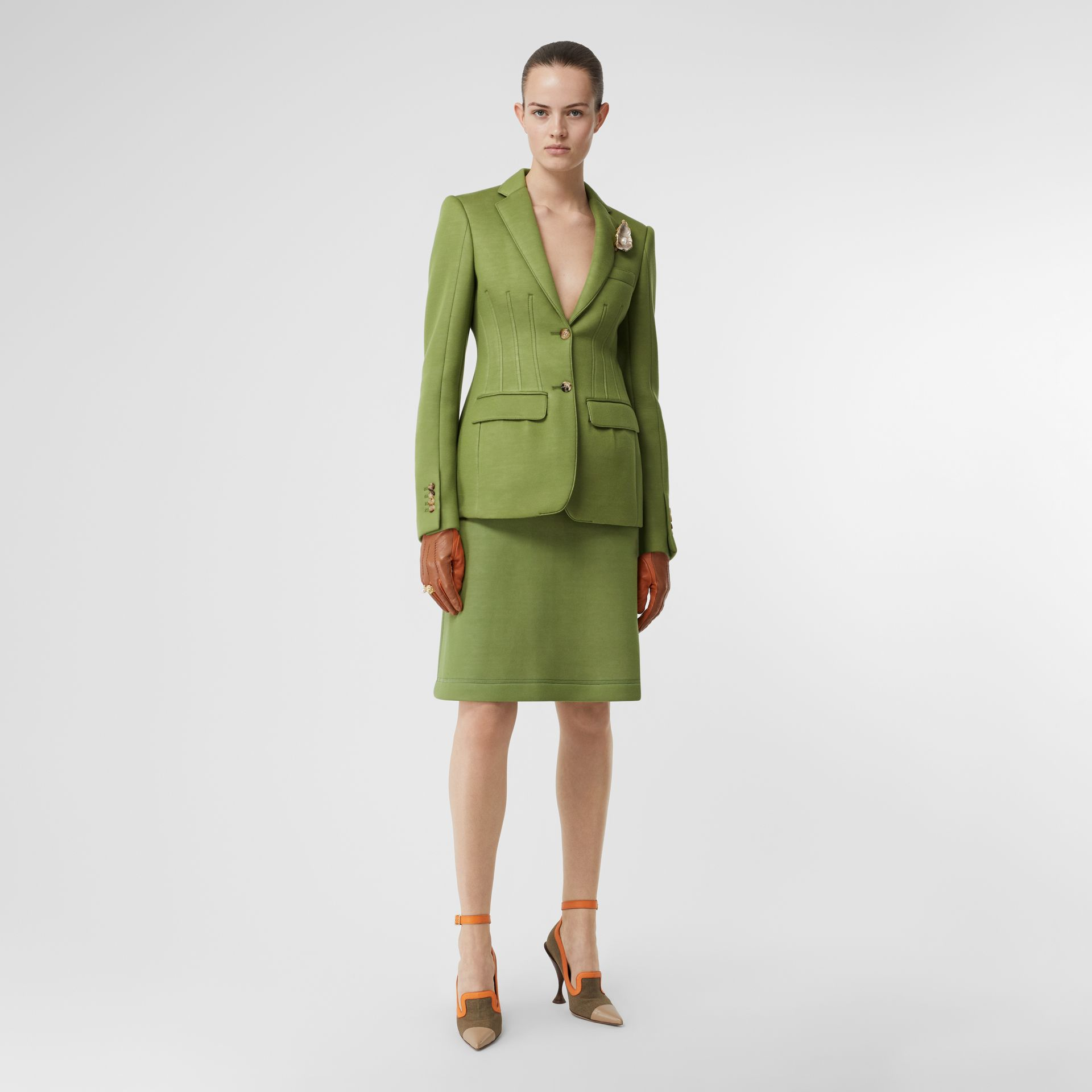 Double-faced Neoprene Tailored Jacket in Cedar Green - Women | Burberry - gallery image 0