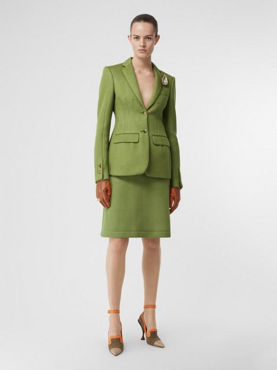 Veste tailleur en néoprène double face (Vert Cèdre)