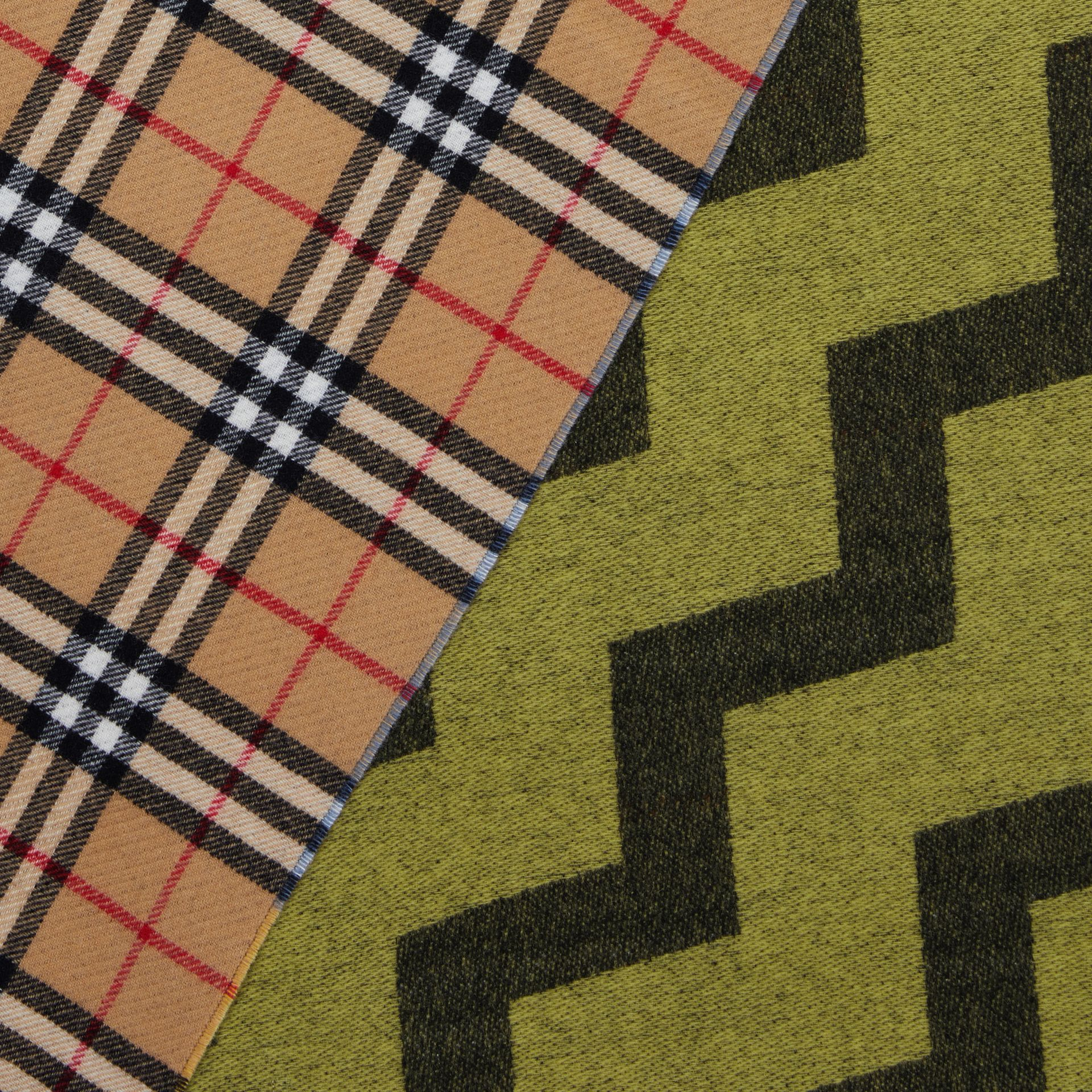 Vintage Check Colour Block Wool Cashmere Scarf in Antique Yellow | Burberry - gallery image 1