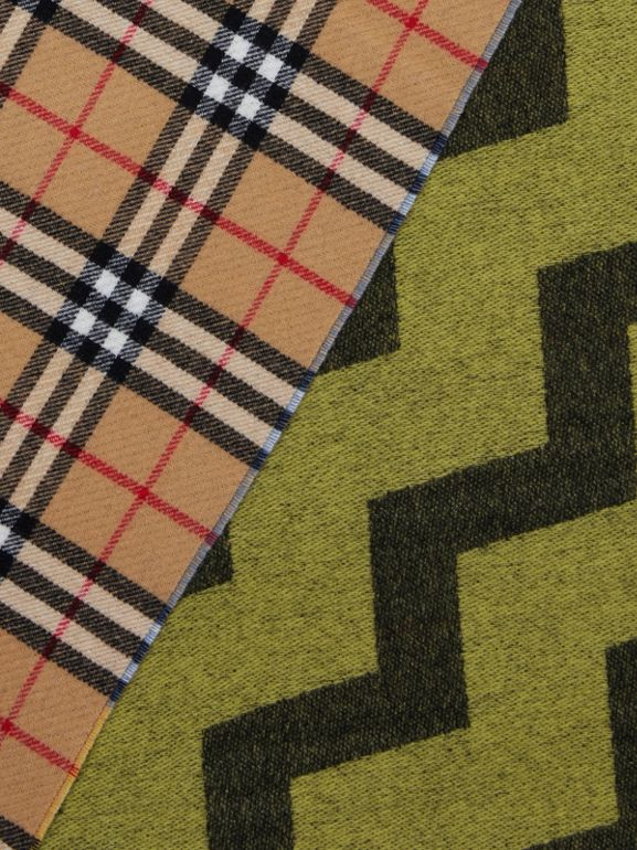 Vintage Check Colour Block Wool Cashmere Scarf in Antique Yellow | Burberry - cell image 1