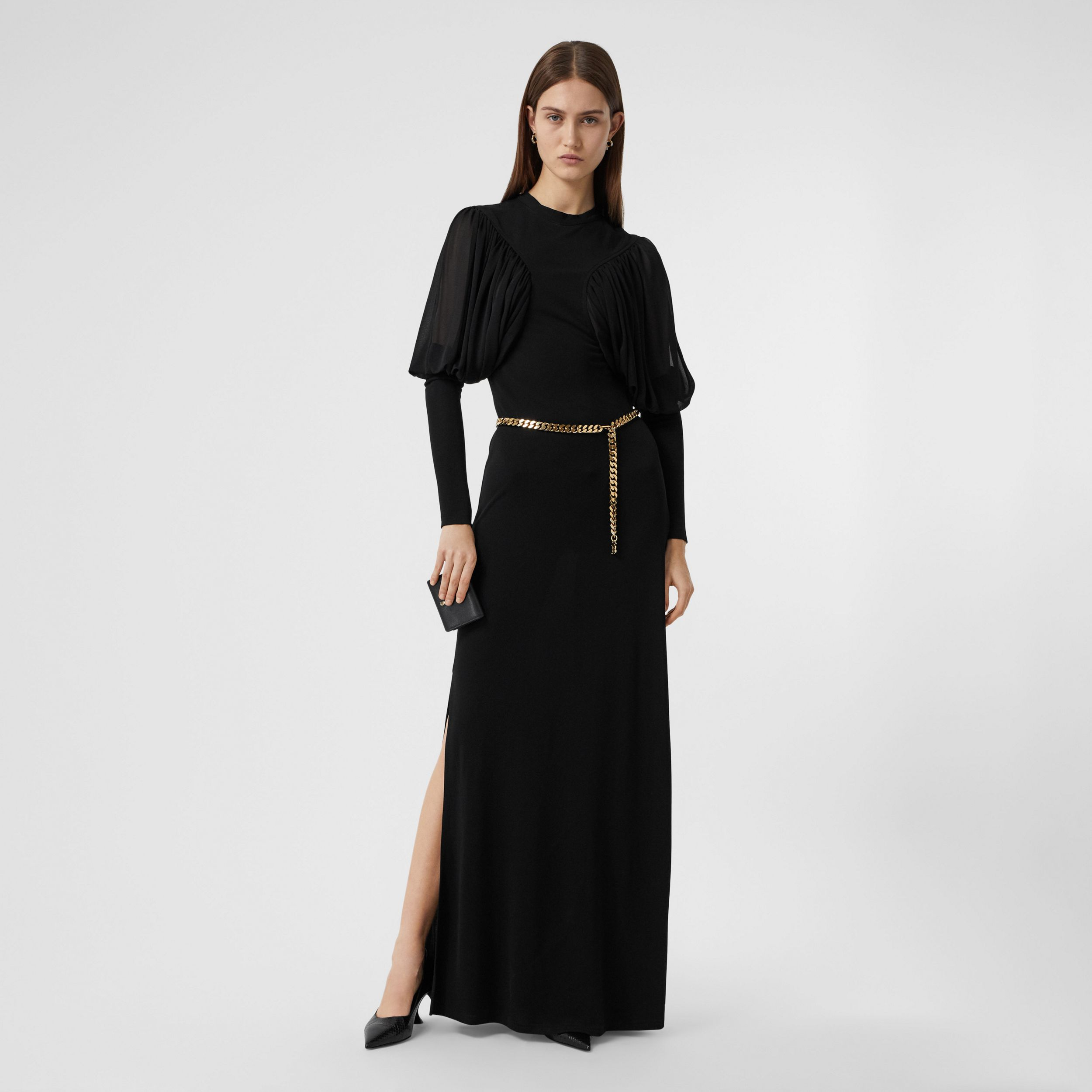 Puff-sleeve Jersey Gown in Black - Women | Burberry Hong Kong S.A.R. - 1