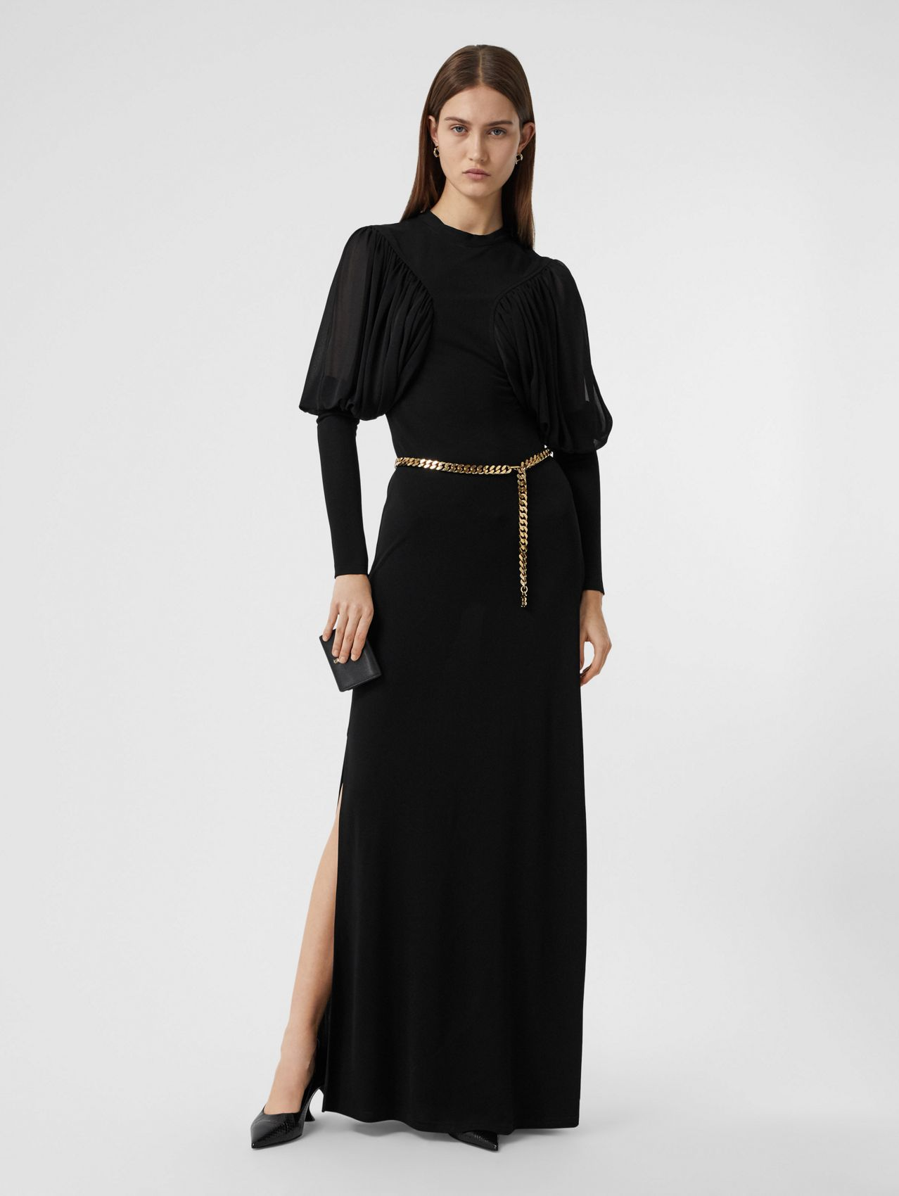 Puff-sleeve Jersey Gown in Black