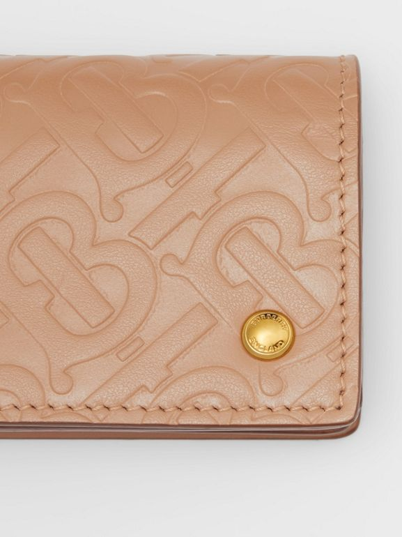 Monogram Leather Card Case in Light Camel - Women | Burberry - cell image 1