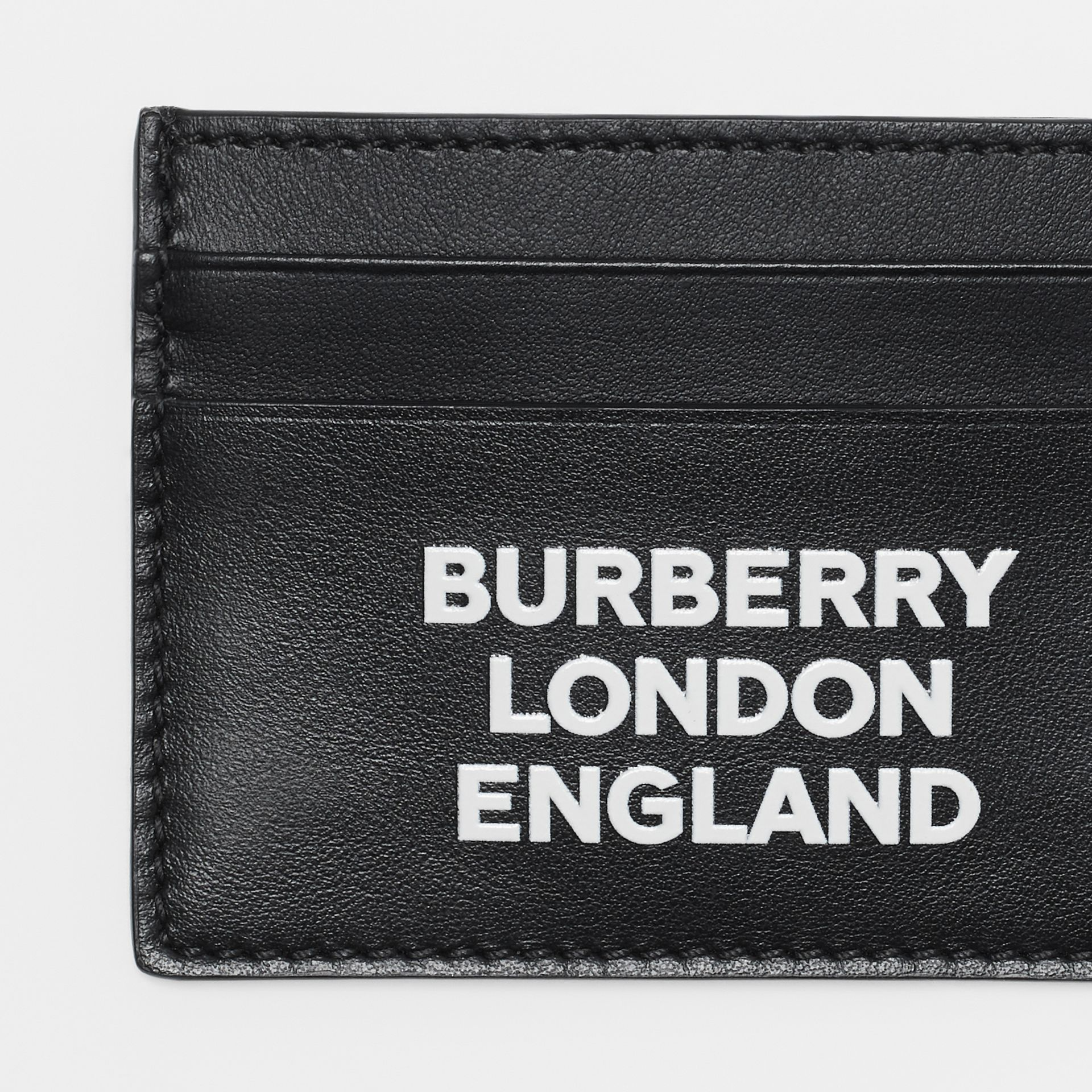 Logo Print Leather Card Case in Black | Burberry - gallery image 1
