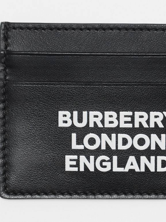 Logo Print Leather Card Case in Black | Burberry - cell image 1