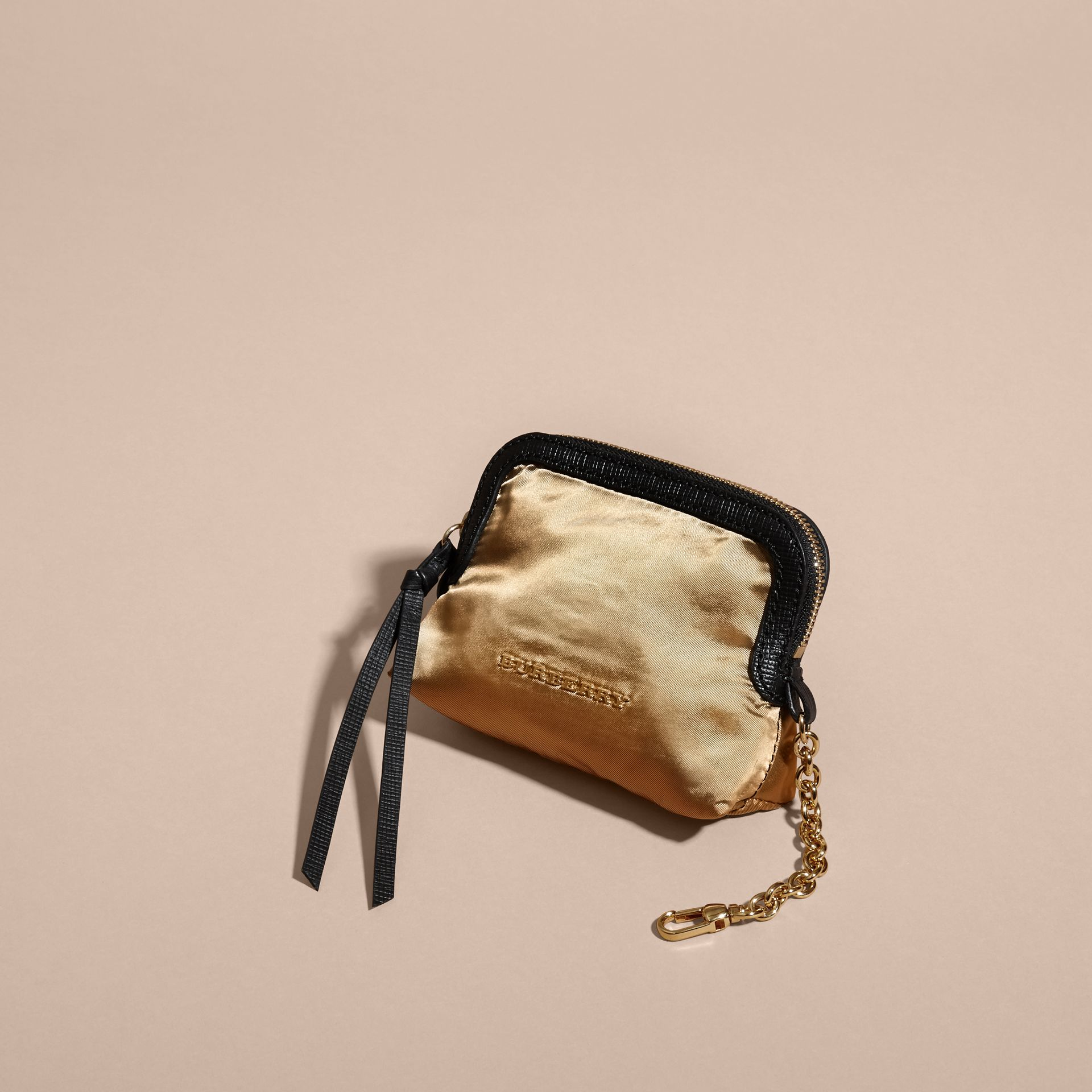 Gold/black Small Zip-top Leather-trimmed Technical Nylon Pouch - gallery image 6