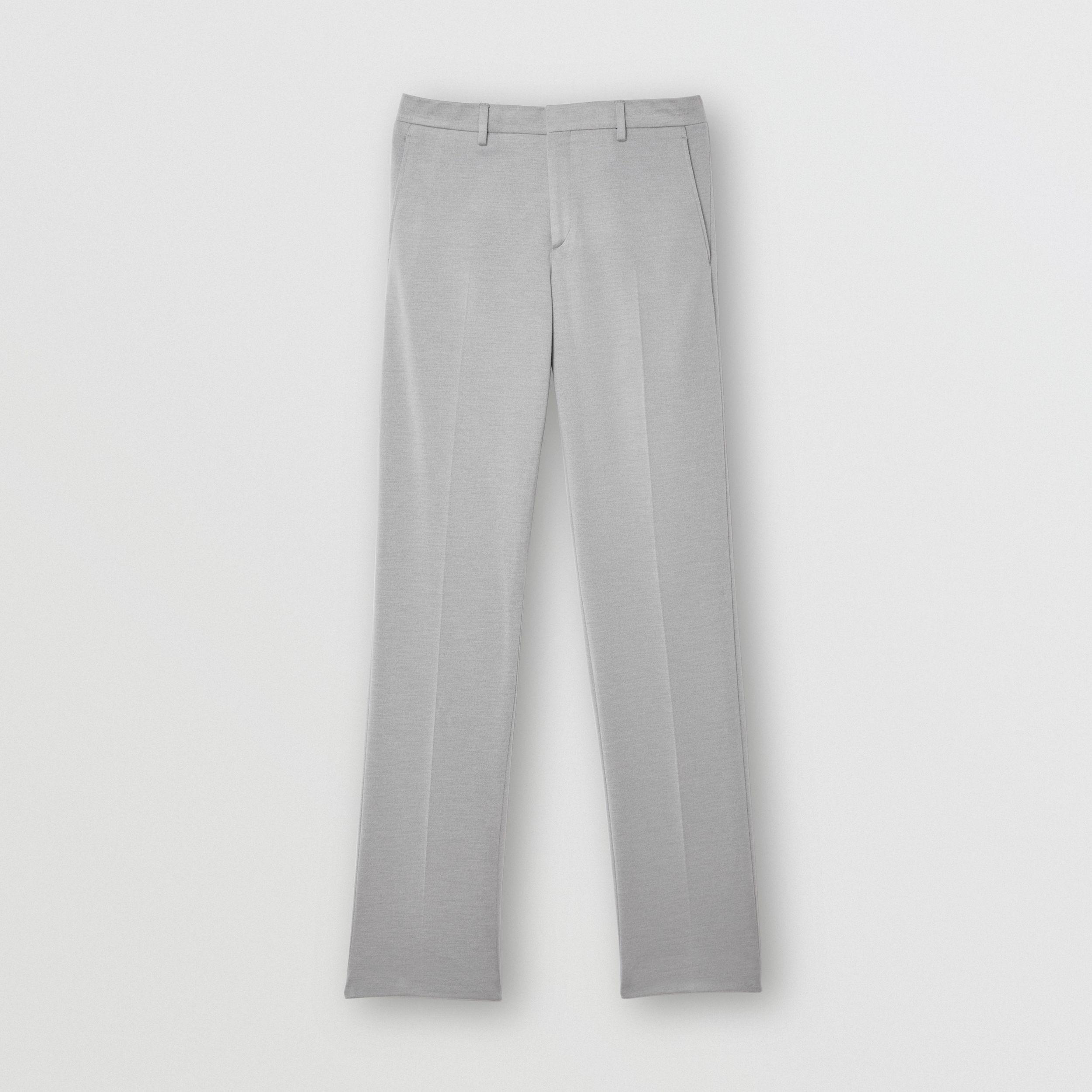 English Fit Cashmere Silk Jersey Tailored Trousers in Light Pebble Grey - Men | Burberry - 4