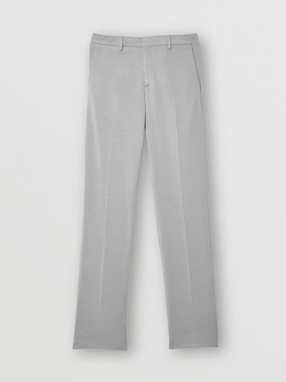 English Fit Cashmere Silk Jersey Tailored Trousers in Light Pebble Grey