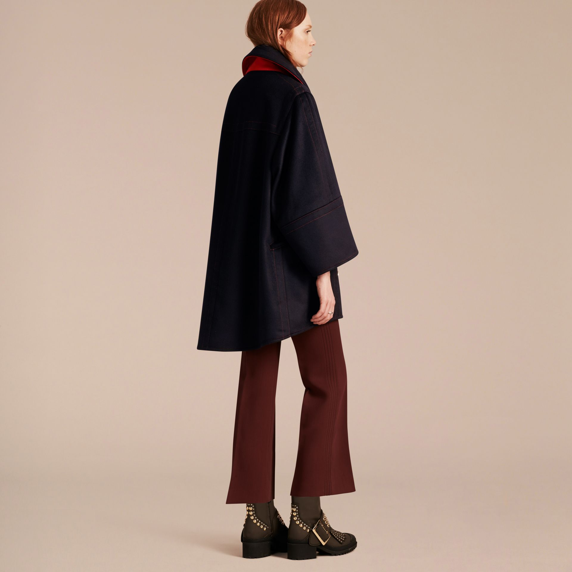 Navy Oversize Cashmere Wool Coat - gallery image 3