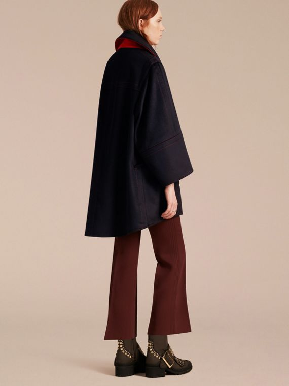Navy Oversize Cashmere Wool Coat - cell image 2