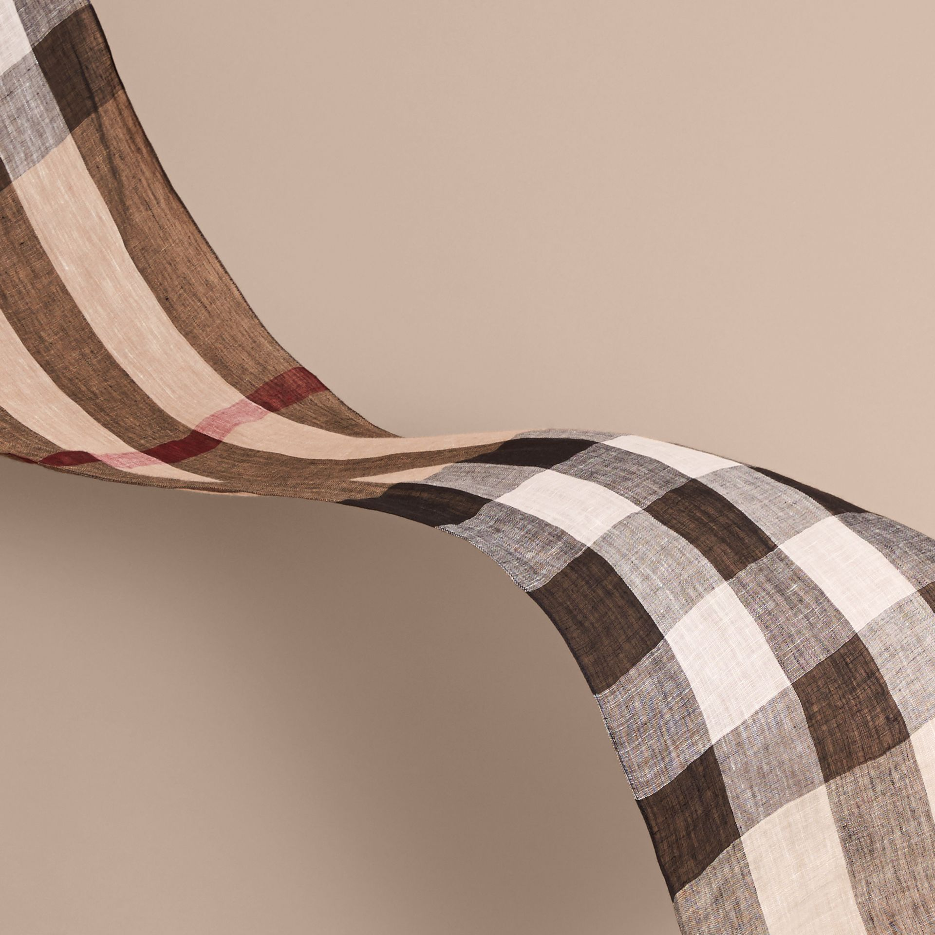 Lightweight Exploded Check Linen Scarf in Camel - gallery image 3