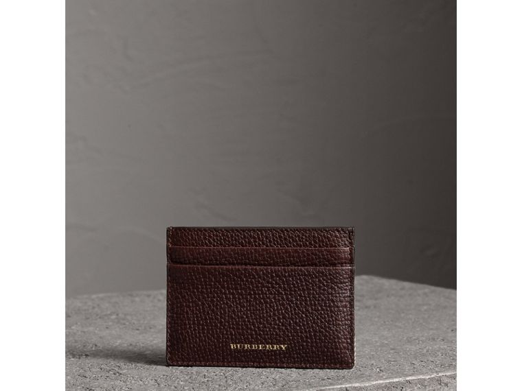 House Check and Grainy Leather Card Case in Wine | Burberry Hong Kong - cell image 4