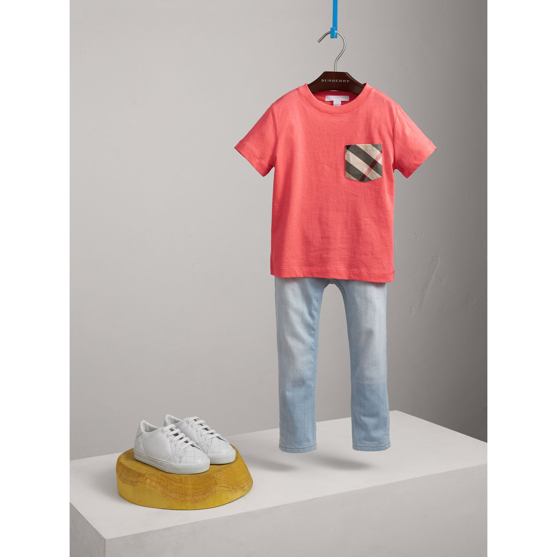 Check Pocket Cotton T-shirt in Bright Coral Pink - Children | Burberry - gallery image 2
